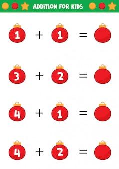 Planilha educacional para crianças prées-escolar. adição para crianças com bolas de natal.