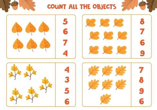 planilha educacional para crianças prées-escolar. conte todas as folhas. jogo de matemática