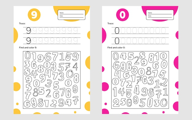 Planilha educacional para crianças prées-escolar e escolares. jogo de números para crianças. rastrear, encontrar e colorir. nove e nulos.