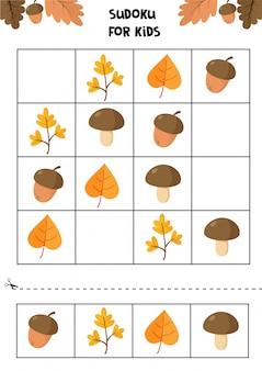 Planilha educacional para crianças prées-escolar. objetos de outono.