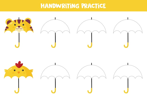 Planilha educacional para crianças prées-escolar. prática de caligrafia. rastrear guarda-chuvas.
