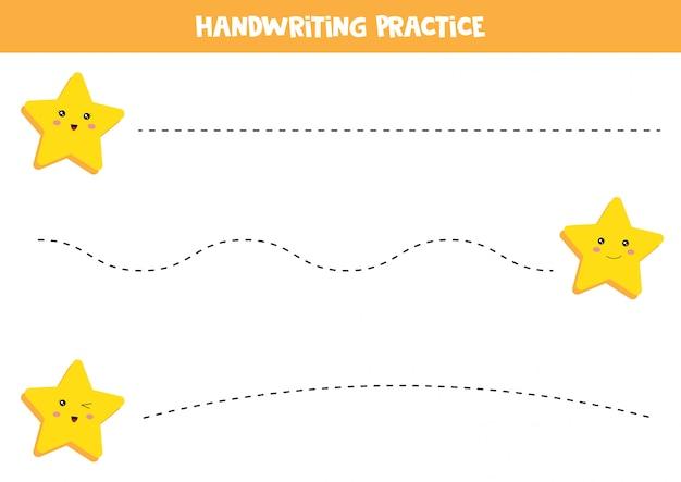 Planilha educacional para crianças prées-escolar. prática de caligrafia. traçar linhas com estrelas