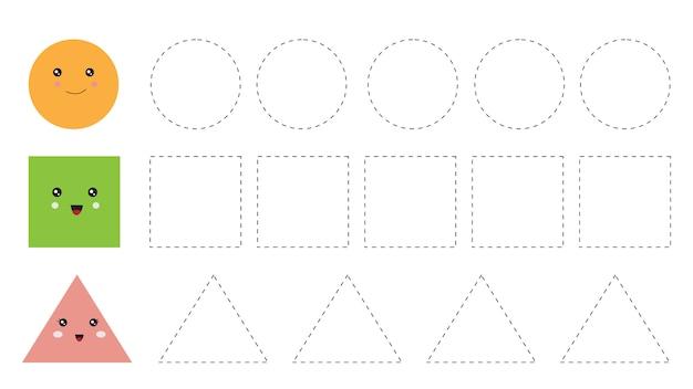 Planilha educacional para crianças prées-escolar. rastrear formas.