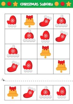 Planilha educacional para crianças prées-escolar. sudoku de natal.