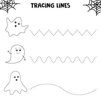 planilha educacional para crianças prées-escolar. traçando linhas com fantasmas