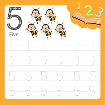Planilha escrita prática número cinco animal