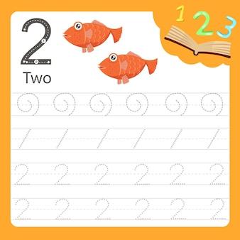 Planilha, escrita, prática, número, dois, animal