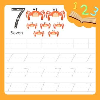 Planilha escrita prática número sete animal
