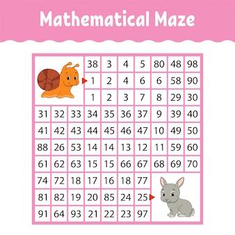 Planilha matemática colorida labirinto quadrado