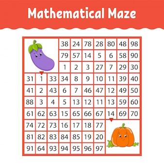 Planilha matemática do labirinto quadrado