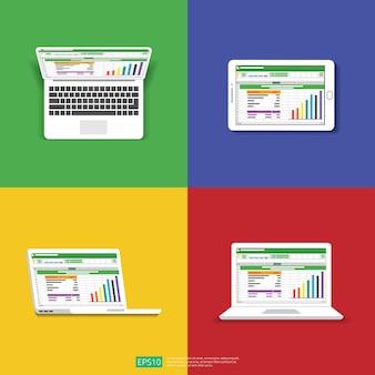 Planilha na tela do computador plana. conceito de relatório de contabilidade financeira.