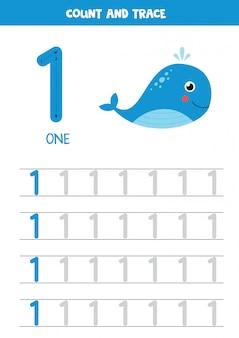 Planilha para aprender números com baleia do mar dos desenhos animados. número um.