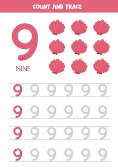 Planilha para aprender números com conchas dos desenhos animados. número nove.