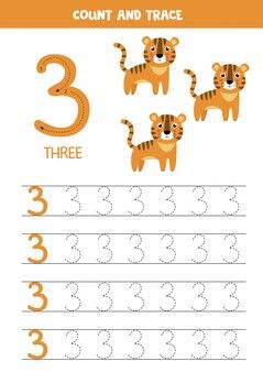 Planilha para aprender números com elefantes fofos. numero tres.