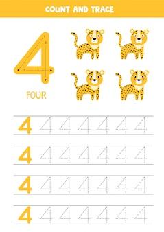 Planilha para aprender números com girafa bonitinha. numero quatro.