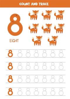 Planilha para aprender números com raposas bonitinha. número 8.