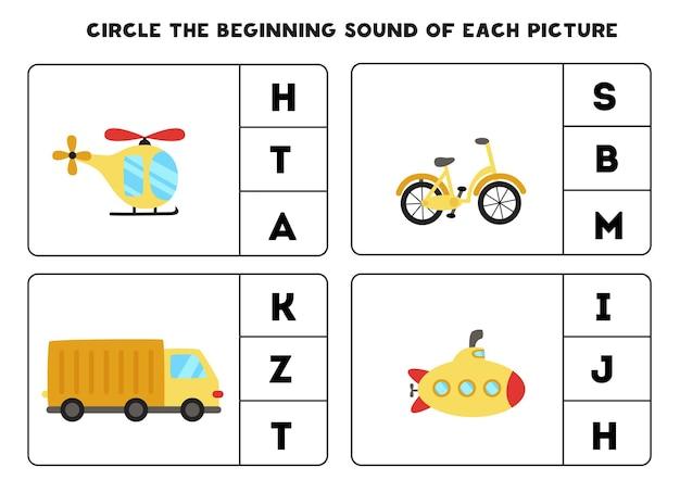 Planilha para crianças. encontre o som inicial. meios de transporte de desenhos animados.