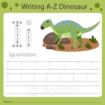 Planilha para crianças, escrevendo az dinosaur i