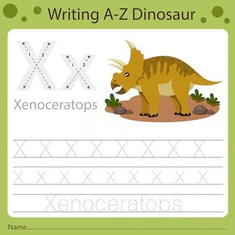 Planilha para crianças, escrevendo az dinosaur x