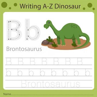 Planilha para crianças, escrevendo az dinossauro b