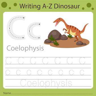 Planilha para crianças, escrevendo az dinossauro c