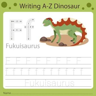 Planilha para crianças, escrevendo az dinossauro f