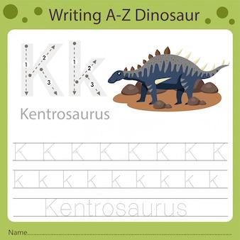 Planilha para crianças, escrevendo az dinossauro k