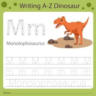 Planilha para crianças, escrevendo az dinossauro m