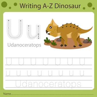 Planilha para crianças, escrevendo az dinossauro u