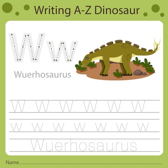 Planilha para crianças, escrevendo az dinossauro w