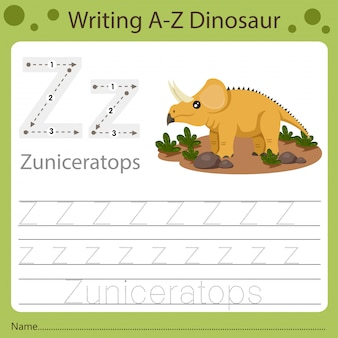 Planilha para crianças, escrevendo az dinossauro z