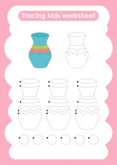 Planilha prática para escrever e desenhar linhas de vase trace para crianças