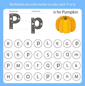 Planilha usar um marcador de ponto para colorir cada p
