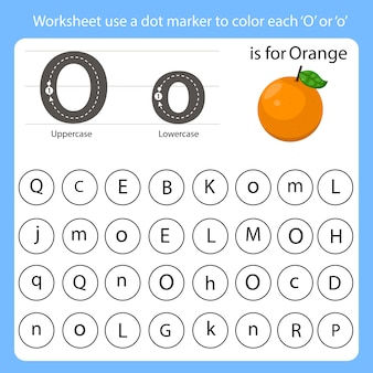 Planilha use um marcador de ponto para colorir cada o