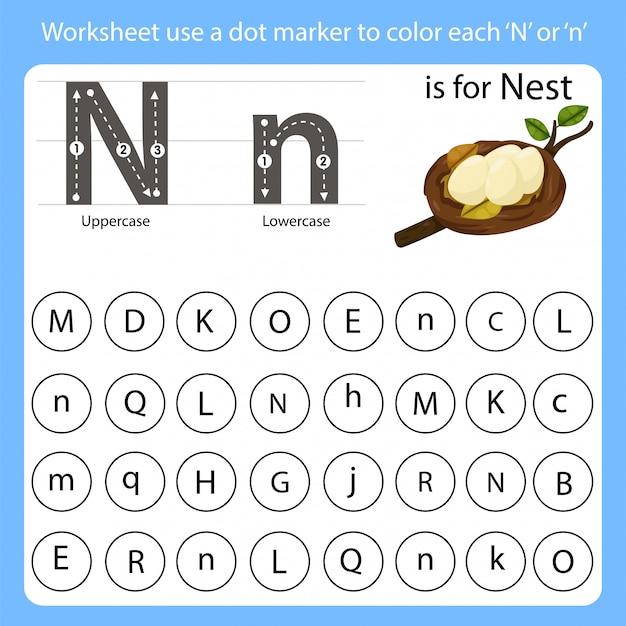 Planilha use um marcador de pontos para colorir cada n