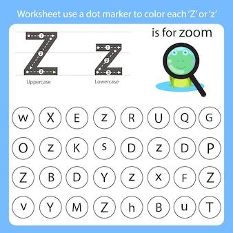 Planilha use um marcador de pontos para colorir cada z