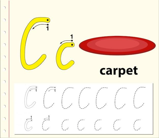 Planilhas de alfabeto de rastreamento da letra c
