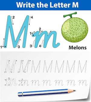 Planilhas de alfabeto de rastreamento da letra m