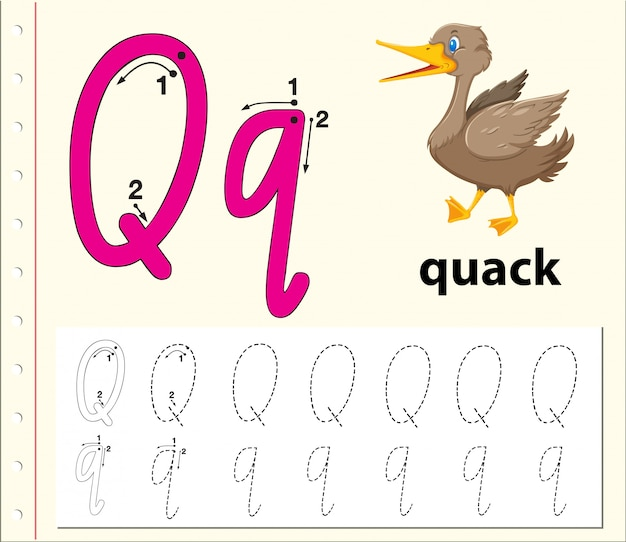 Planilhas de alfabeto de rastreamento da letra q