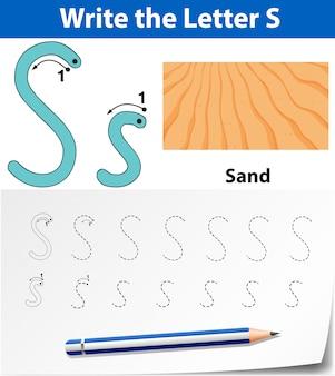 Planilhas de alfabeto de rastreamento da letra s