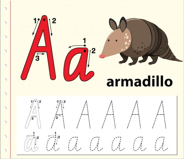 Planilhas de alfabeto de traçado da letra a