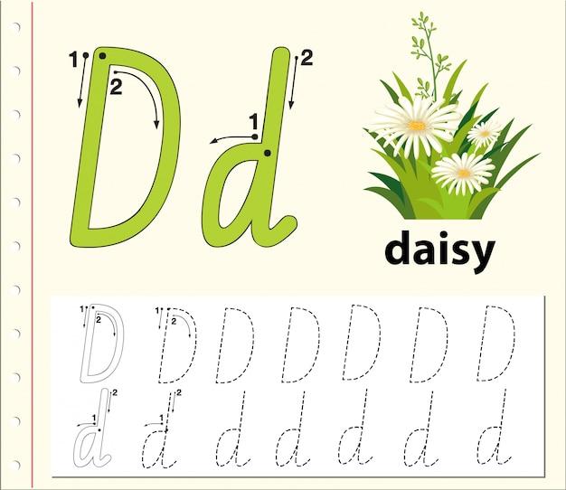 Planilhas de alfabeto de traçado da letra d