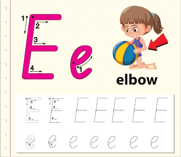 Planilhas de alfabeto de traçado da letra e
