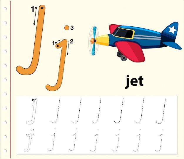 Planilhas de alfabeto de traçado da letra j