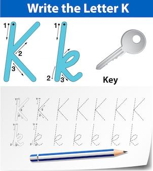 Planilhas de alfabeto de traçado da letra k