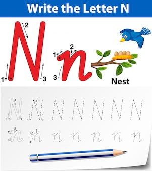 Planilhas de alfabeto de traçado da letra n