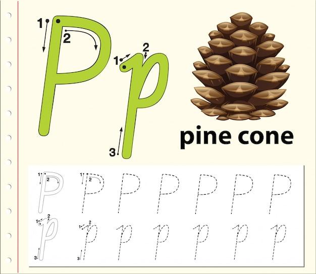 Planilhas de alfabeto de traçado da letra p