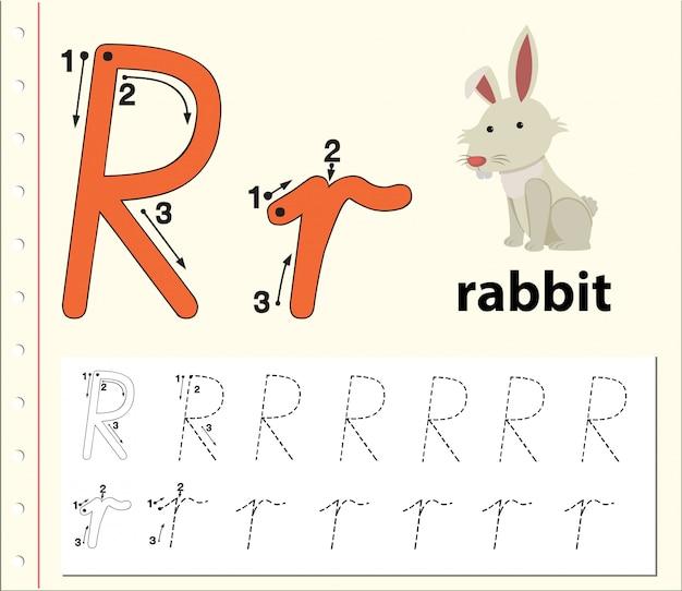 Planilhas de alfabeto de traçado da letra r