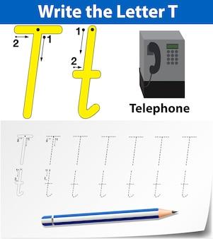 Planilhas de alfabeto de traçado da letra t