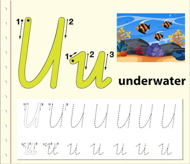 Planilhas de alfabeto de traçado da letra u